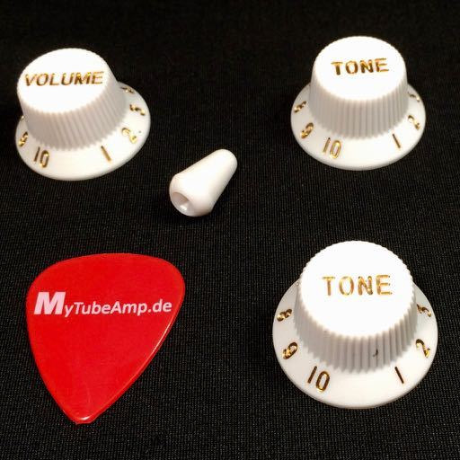 Tone, volume knobs and the 5-way-switch knob for Stratocaster guitars