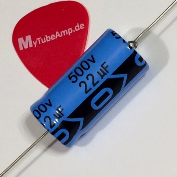 22 µF 500V cap axial electrolytic capacitor 22 mF